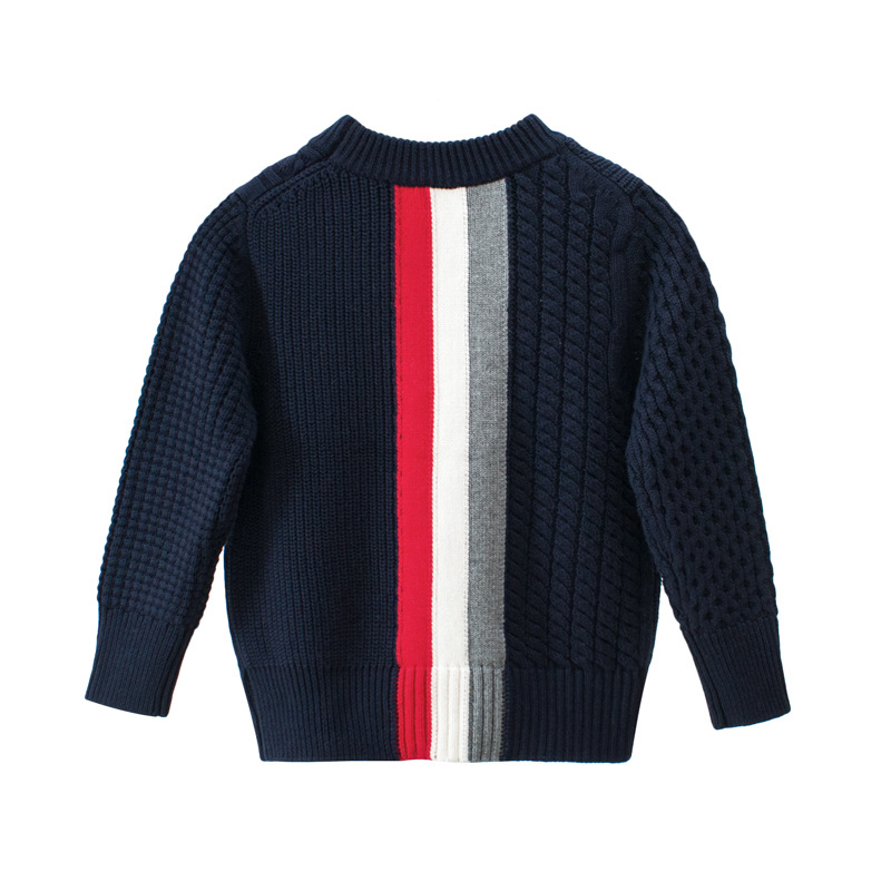 Image 5 - kids Casual Sweaters Autumn Winter 2019 Boys and Girls Pullover Knitted Striped Sweater Children Long Sleeve Gray Navy Blue Tops-in Sweaters from Mother & Kids
