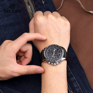 Image 5 - MEGIR hot fashion mans quartz wristwatch brand waterproof leather watches for men casual black watch for male 1010