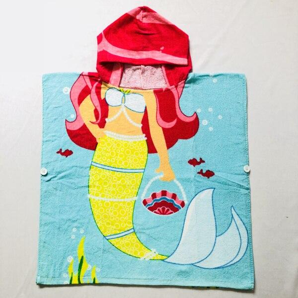 Детские Банные халаты с рисунком сердца розы KT, хлопковый свитер с принтом, накидка, банный халат с капюшоном и рисунком животных - Цвет: Mermaid