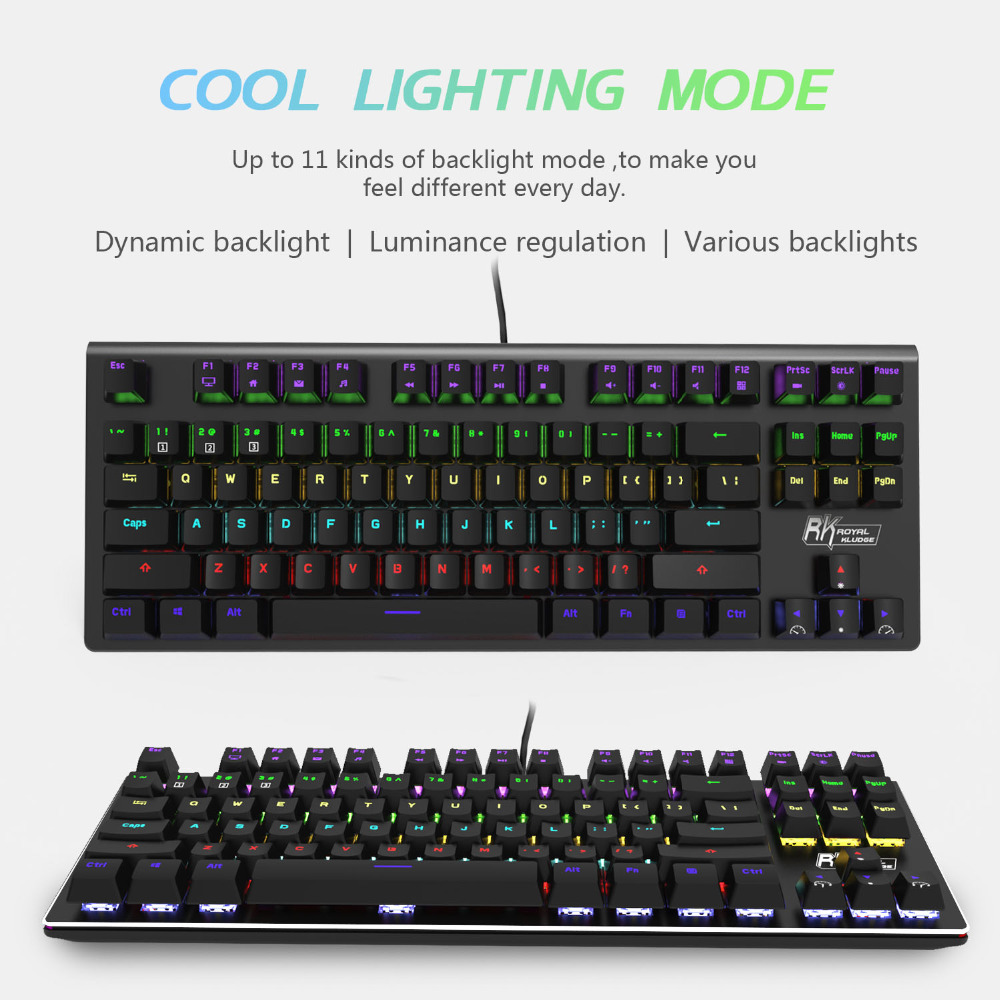 rk g87 mini keyboard with double shot abs keycap 87 keys gaming wired keyboard rainbow led. Black Bedroom Furniture Sets. Home Design Ideas