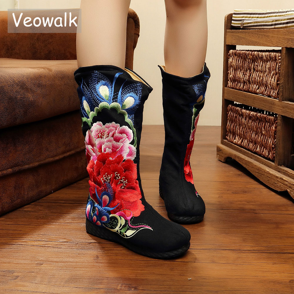Veowalk Flower Embroidery Women Black Mid Calf Cotton Boots Chinese Style Vintage Ladies Winter Flat Shoes Zapato Mujer Big Size все цены