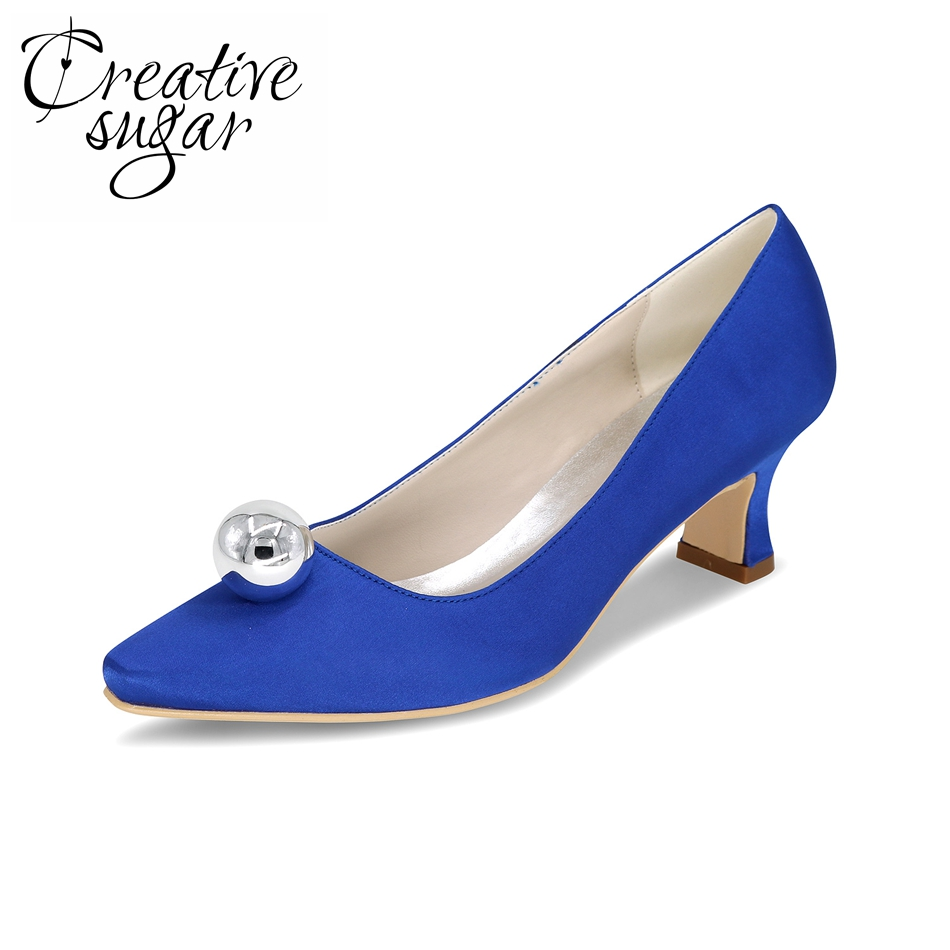 Creativesugar Comfortable satin hoof heel party prom cocktail evening dress shoes with silver ball on pointed toe blue purple comfortable satin dress shoes hoof heel bridal wedding party prom evening pumps mid heel red royal blue champagne white ivory
