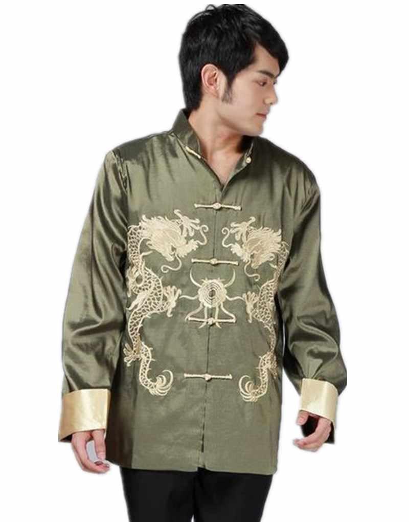 Шанхай история Лидер продаж куртка с длинными рукавами Китайская традиционная одежда дракон куртка Для мужчин; воротник-стойка кунг-фу Топ 3 цвета