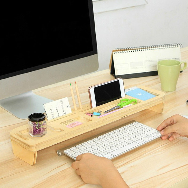 Multifunction Desktop Stand Storage Box E Saving Wood Shelf Desk Organizer Diy Phone Holder