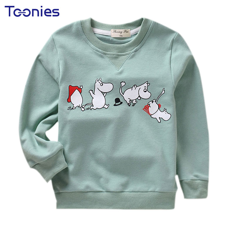 Children's Clothing 2017 Autumn Hoody Girls Boys Casual Sweatshirt Cute Cartoon Printed Hoodies Kids Cotton Long Sleeve Pullover