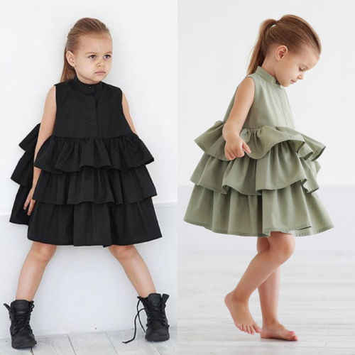 2019 Kids Baby Girls Clothing Princess Dresses Party Pageant Ruffles Tutu Dress Bubble Sleeveless Tiered Cute Girl Mini Dress