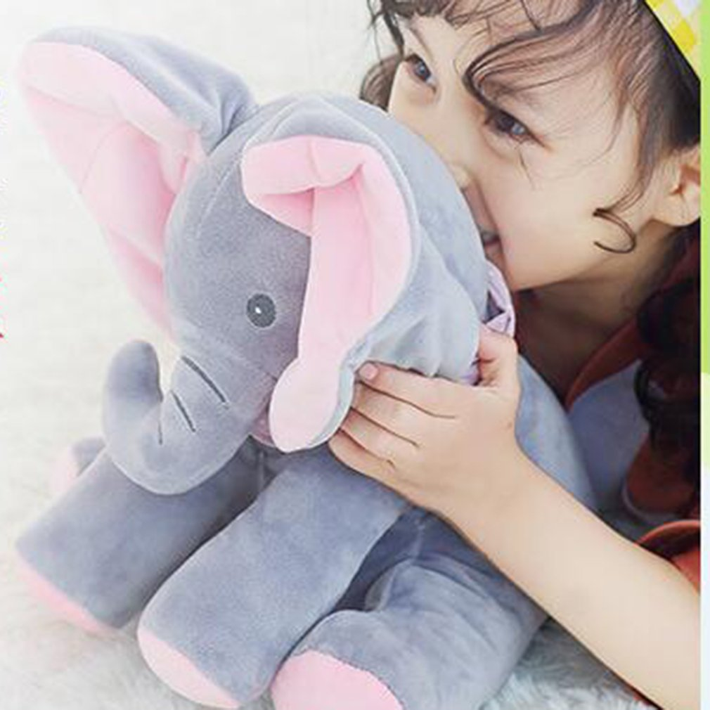 Cute Peek-a-boo Plush Elephant Peekaboo Elephant Electric Blinking with Concert Singing Gray Plus Red English Version Elephant