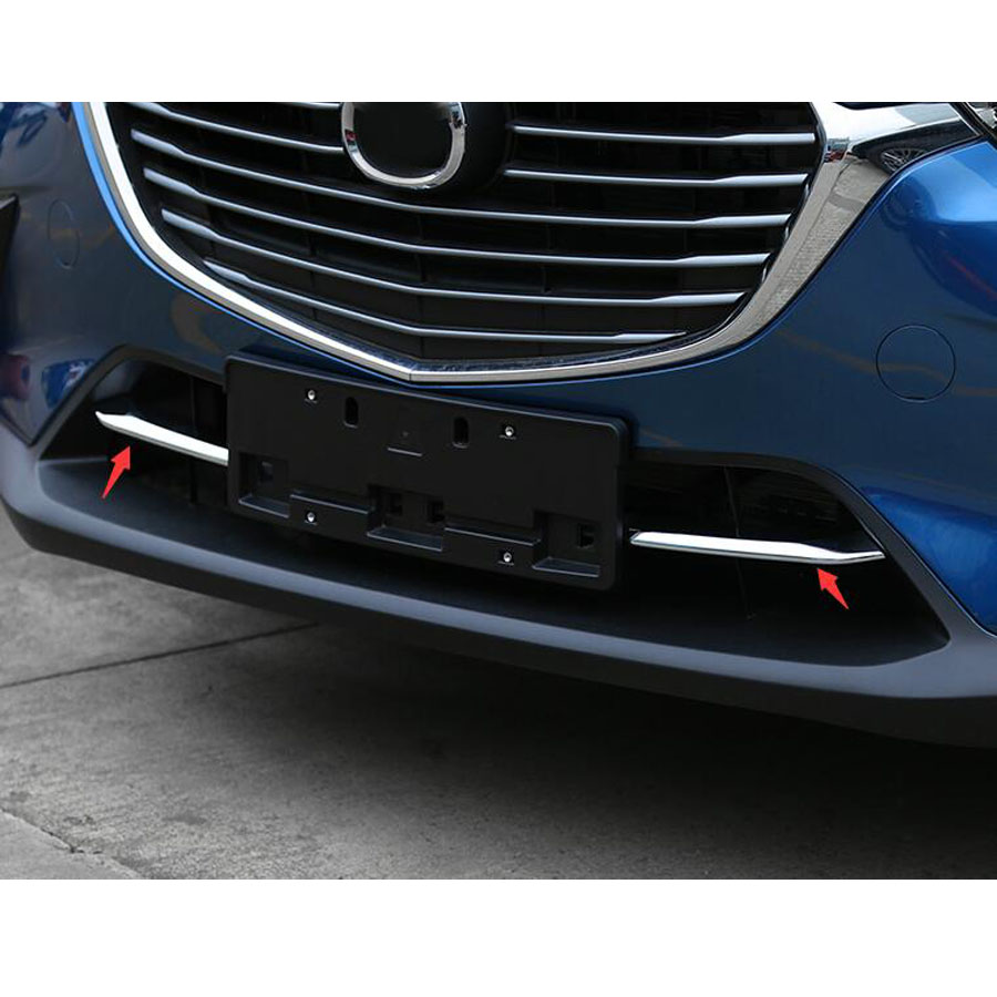 Car Front Bumper Grille Grill Down Bottom Strips Cover Trim Styling For <font><b>Mazda</b></font> CX-3 <font><b>CX3</b></font> <font><b>2016</b></font> 2017 2018 ABS Chrome image
