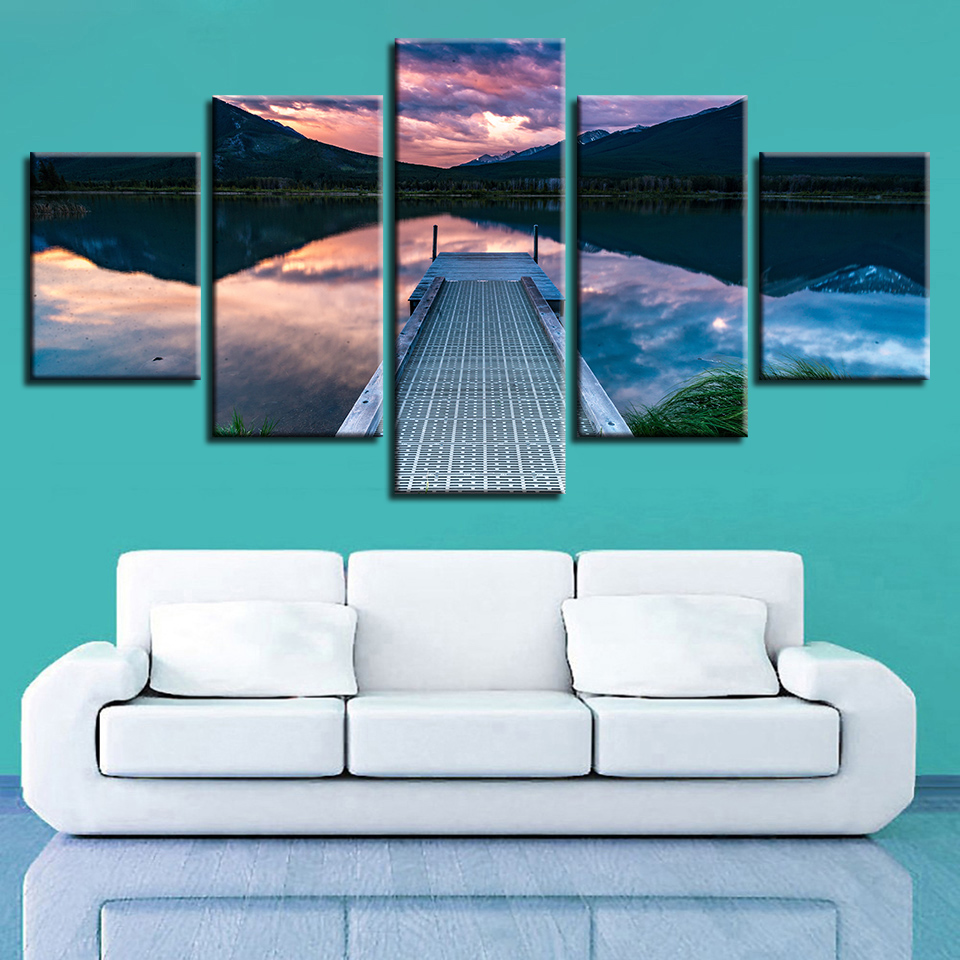 HD Printed Canvas Pictures Wall Art 5 Pieces Mountain Lake Woods Bridge Natural Scenery Painting Decor Living Room Frame Modular