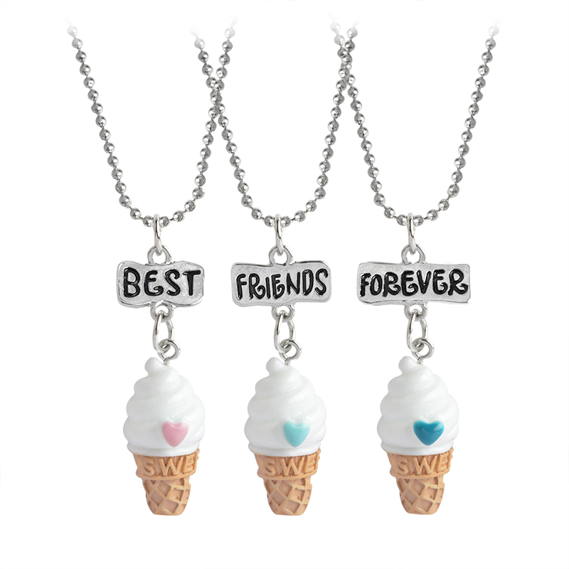 3pcs/set Best Friends BFF Resin ice-cream Round Bead Chain Pendant Necklace Gift Jewelry 3 Colors Lead Nickel Cadmium Female stuffed toy