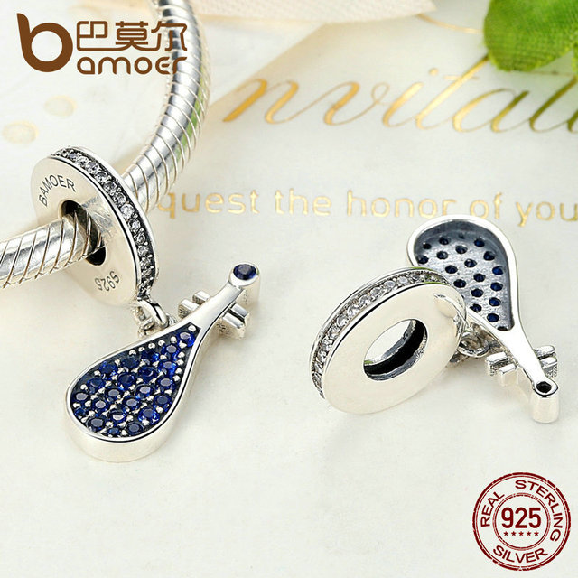 Sterling Silver Blue Musical Instrument China Lute Pendant Charm