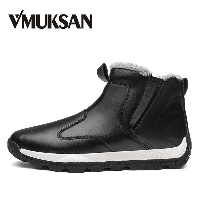 VMUKSAN Winter Shoes Men Plus Size 39-48 Handmade Snow Boots Men High  Quality PU f13a95bebbc6