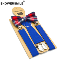 SHOWERSMILE Blue Kids Suspenders with Bow Tie Leather Children Braces British Style Wedding Red Gray Solid Boys 65cm