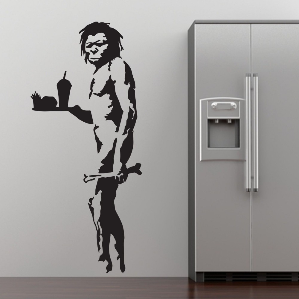 Grafitti art kopen - Banksy Fastfood Caveman Graffiti Art Muursticker Sticker Home Diy Decoratie Muurschildering Verwijderbare Slaapkamer Decor Sticker 3