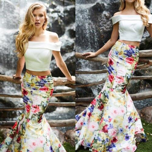 c055d9c3df5813 New Summer Fashion Women Boho Chic Floral Long Maxi Skirt High Waist  Mermaid Beach Trumpet Sundress Ladies Skirt