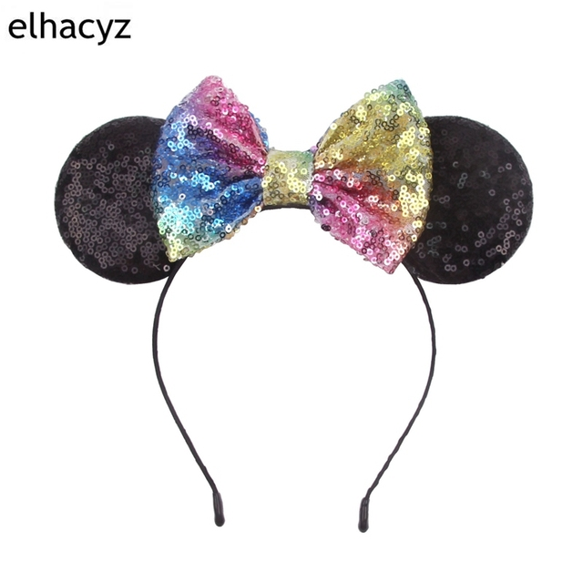 Us 1 99 20 Off Chic 5 Sequins Bow Cosplay Dot Minnie Mouse Ears Hairband Trendy 2018 Diy Hair Accessories For Kids Headwear Party Decoration In