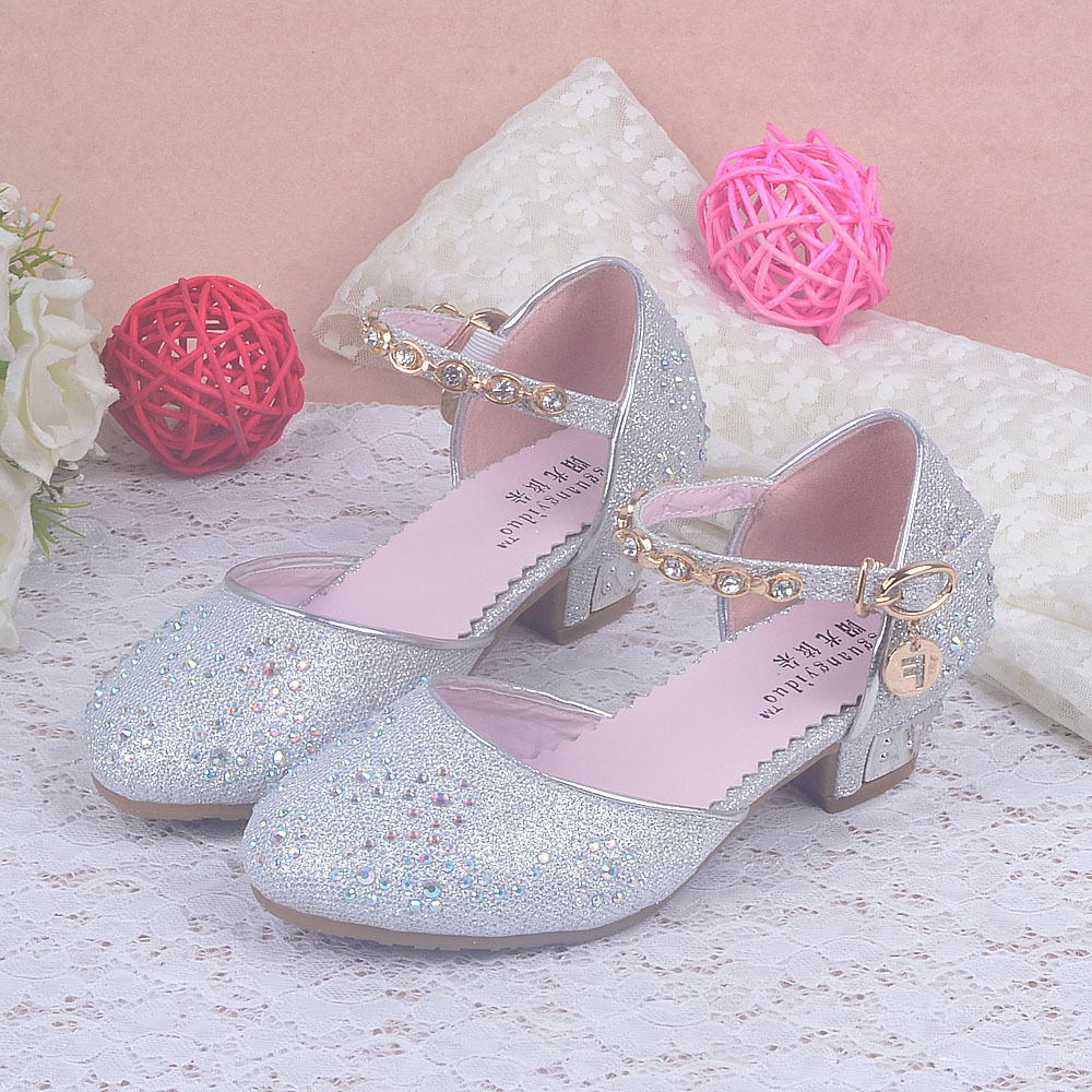 Enfants 2016 Kids Girls Princess Sandals Chilren Wedding Shoes High Heels Dress Party Shoes For ...