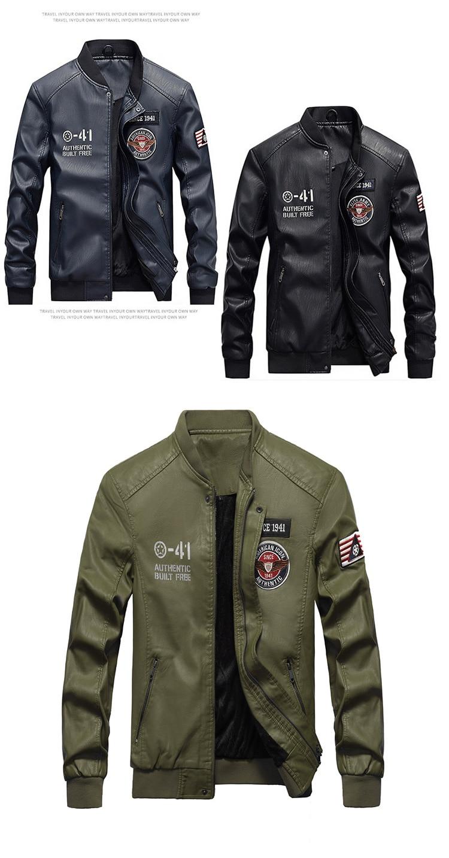 HTB15pLGbR1D3KVjSZFyq6zuFpXaX 2019 Fashion Leather Bomber Jacket Men Autumn Winter Military Jackets Male Fleece Liner Outwear Coats Warm PU Baseball Jackets