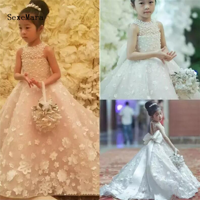 Cute 2018 Flower Girls Dresses for Wedding with Bow Belt Bead Princess Kids Floor Length Dress Girls Pageant Ball Gown