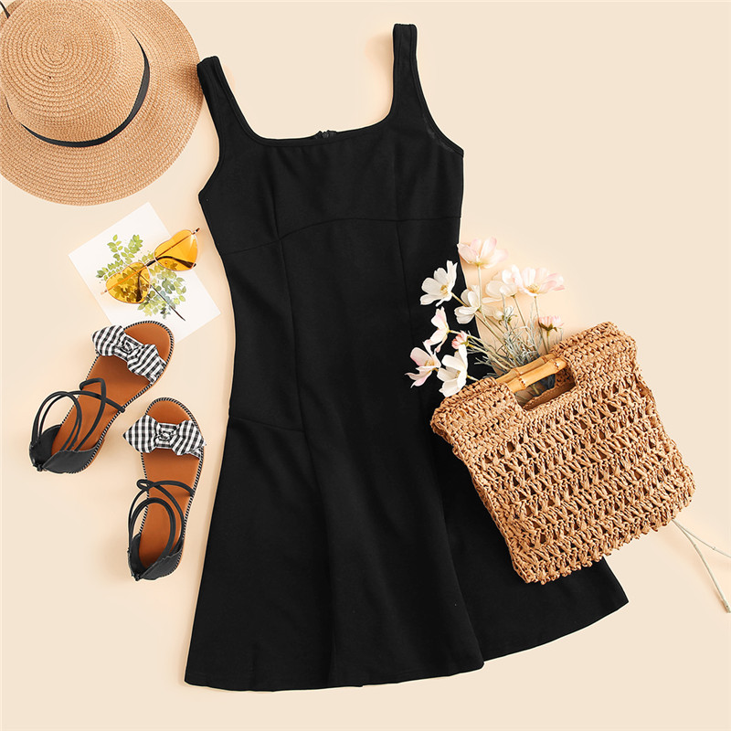 SHEIN Black Fit And Flare Solid Dress Elegant Straps Sleeveless Plain A Line Dresses Women Summer Autumn Zipper Short Dress 12