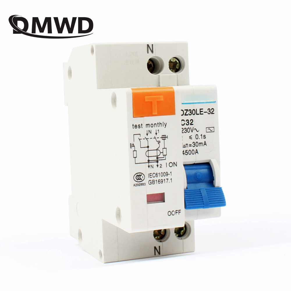 DPNL DZ30LE-32 1P+N 10A 16A 20A 25A 32A 230V 50/60HZ Residual Current Circuit Breaker With Over Current Leakage Protection RCBO idpna vigi dpnl rcbo 6a 32a 25a 20a 16a 10a 18mm 230v 30ma residual current circuit breaker leakage protection mcb a9d91620