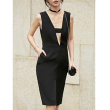 Original 2017 Brand Summer Black V Neck Elegant A-line Midi Dress Women Wholesale