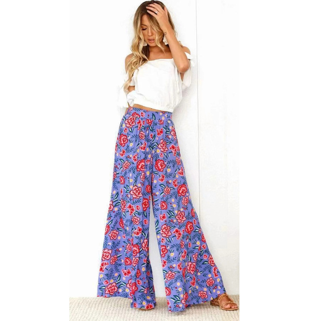 4c6c1ff078 Vintage Floral Print Wide Leg Pants Women Long Casual Pant 2019 Summer Boho  Beach Elastic High