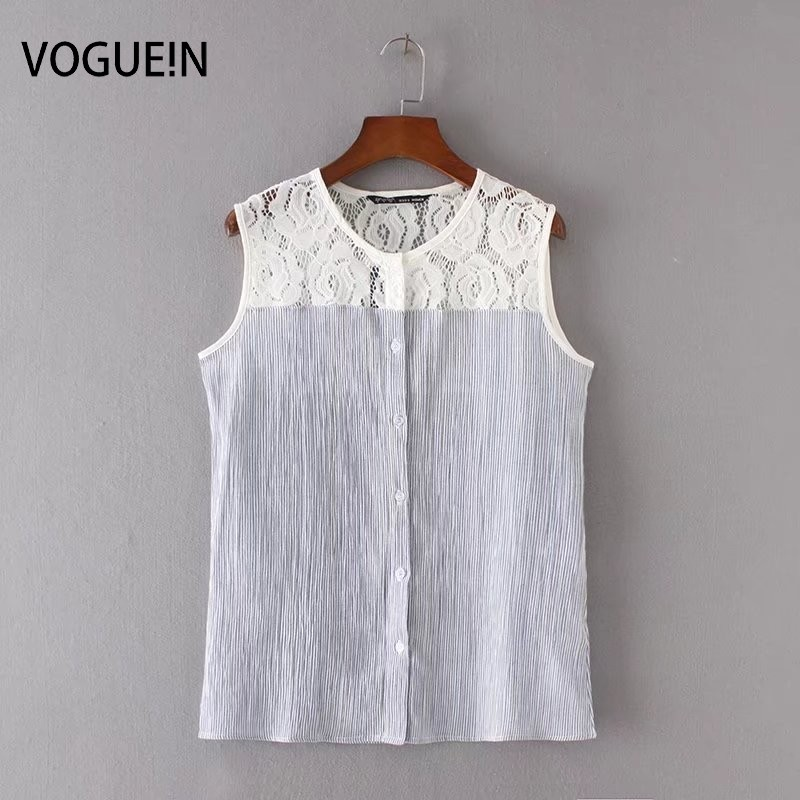 Vogue n new womens ladies sexy lace mix sleeveless button for Sleeveless cotton button down shirts