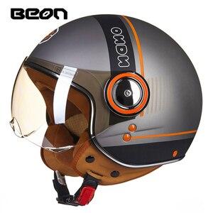Image 4 - BEON moto rcycle helm Vintage roller open face helm Retro Reiten Racing helm ECE genehmigt Italien flagge moto Gehen kart casco