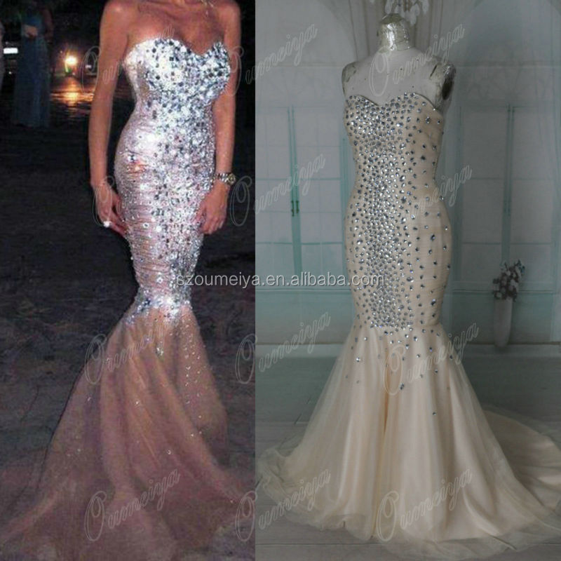 OUMEIYA Real ORP171 Champagne Crystal Diamond Cheap Mermaid Prom Dress 2014 In Prom Dresses From