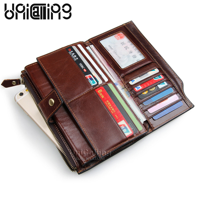9eaa42048f52 Genuine leather men long wallet vintage fashion credit card wallet 20 card  slots phone holder men wallet Factory hot sale
