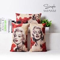 Marilyn Monroe gối bìa, Vintage Rose Monroe Cotton linen eo gối trường hợp gối không lõi