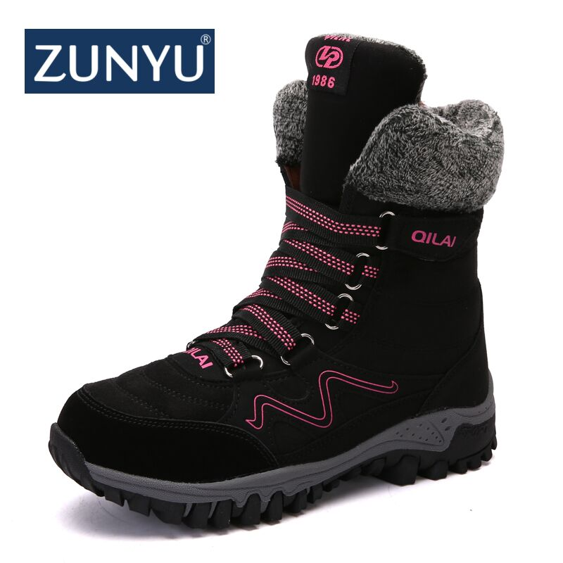ZUNYU Suede Leather Snow Boots Winter Warm Ankle Boots Flat