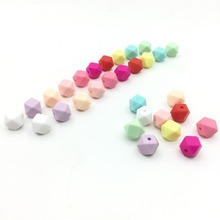 100Pcs Silicone MINI Hexagon Beads Teething 11mm-13mm-17mm Baby Teether