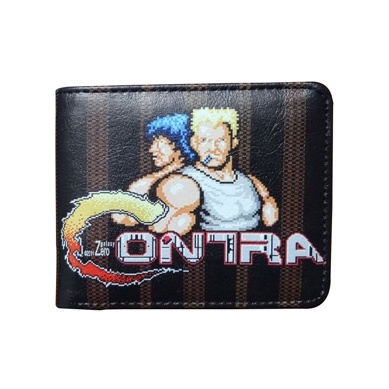 Fashion Games Anime CONTRA Purse Cartoon Wallets Dollar Price Card Holder Bags Gift Man Male Leather Short Wallet dc movie hero bat man anime men wallets dollar price short feminino coin purse money photo balsos card holder for boy girl gift