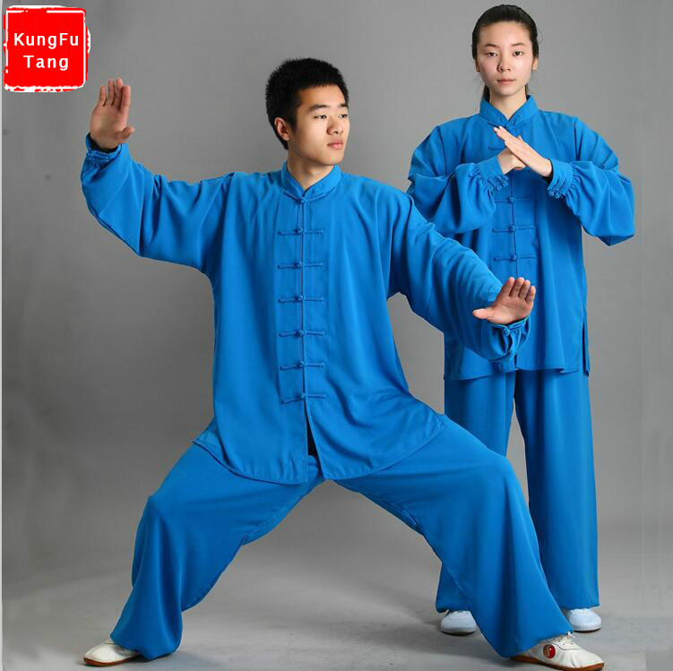 цена Blue Traditional Chinese Tai Chi Clothing Long Sleeve Kung Fu Uniforms Wushu TaiChi Suit Martial arts Exercise Clothes 13colors онлайн в 2017 году