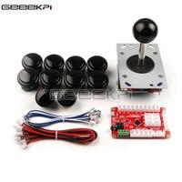 Geeekpi original 1 palyer preto/vermelho máquina de jogo arcade peças diy com zero atraso usb codificador + joysticks botões + cabos