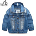 Retail 3-10 years coats denim jacket solid color full-sleeves turn-down collar kids children spring autumn fall