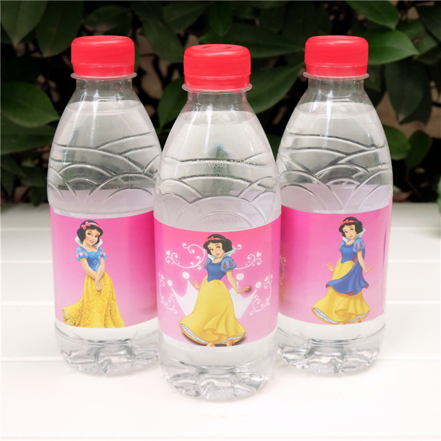Water Bottle Decoration Alluring 12Pcs Cartoon Princess Snow White Water Bottle Label Candy Bar Design Decoration