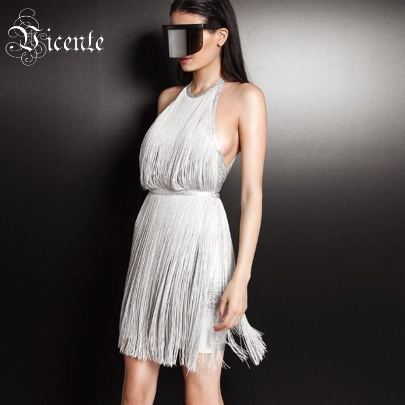 Vicente All Free Shipping 2019 New Chic Oil Print Tassel Embellished Halter Backless Celebrity Party Mini