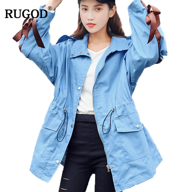 RUGOD 2018 New Fashion Female   Trench   Coat Long Style Turn-down Collar Bow Slim Casual Adjustable Waist Outerwear Casaco Feminino