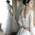 Vestidos de casamento 2016 Vestido De Noiva De Luxo Tule Francês Lace Wedding Dress Manga Comprida Vantage Barco Pescoço vestidos de Noiva Vestidos de Noiva