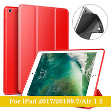 YWEWBJH Case for iPad Air 2018 9.7 PU Leather Silicone Soft Back Trifold Stand Auto Sleep Smart Cover 2
