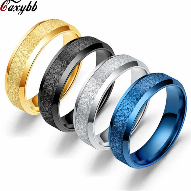 Frosted Party Ring for Women and Men Lover Matte Sandblasted Ring Black / Blue / Gold / Silver Color Titanium Couple Jewelry