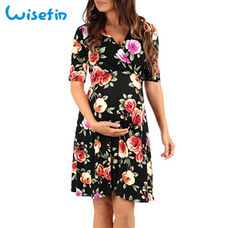 91170b8edf6f0 Wisefin Floral Maternity Dresses Summer Pregnancy Dresses Women Knee Length  Pregnant Clothes Daily Wear Robe Nursing