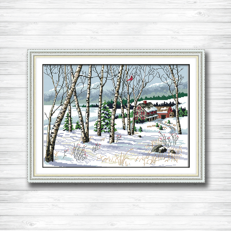 Beautiful Landscape Countryside Painting Counted Print On Canvas Dmc14ct 11ct Chinese Cross Stitch Needlework Set Embroider Kits Cross-stitch Home & Garden