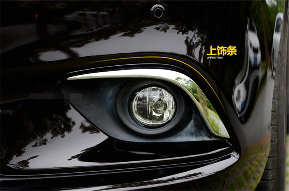 Exterior Chrome Front Fog Light font b Lamp b font Eyelid Eyebrow Cover Trim 2 Pcs