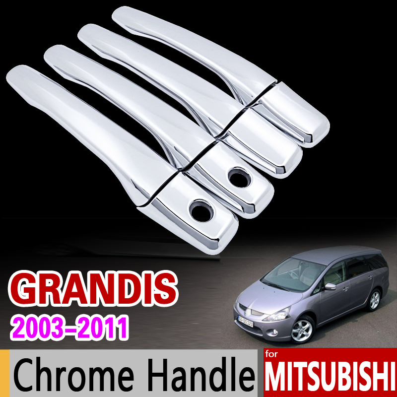 for Mitsubishi Grandis Chrome Door Handle Cover Trim Set 2003 2004 2005 2006 2007 2008 2009 2010 2011 Accessories Car Styling for suzuki splash 2007 2014 chrome handle cover trim set of 4door 2008 2009 2010 2011 2012 2013 accessories sticker car styling