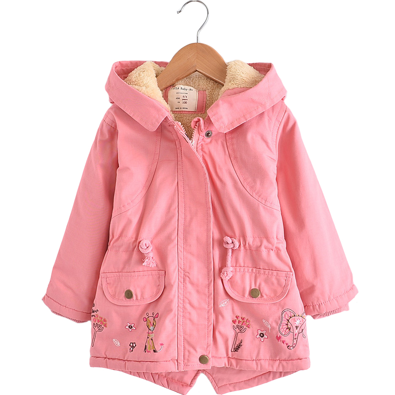 New Winter Children Hooded Jacket Kids Warm Coat For Girls Parkas Animal Embroidery Baby Girl Jackets And Coats Outerwear Coat недорго, оригинальная цена