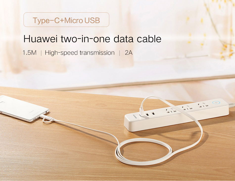 950_01P20 Pro Original Huawei 2 in 1 Micro USB Typc C Cable Fast Charger 2A 1.5M Type-C Charge Cable Mate10 Mate9 Pro Lite Honor V10_